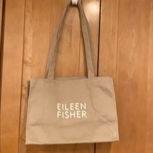 Eileen Fisher tan canvas tote bag